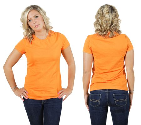 Young beautiful blond female with blank orange shirt, front and back. Ready for your design or logo. Stock Photo - 7336644