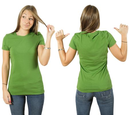 Young beautiful female with blank green shirt, front and back. Ready for your design or logo. photo