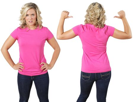 pink posing: Young beautiful female with blank pink shirt, front and back. Ready for your design or logo.