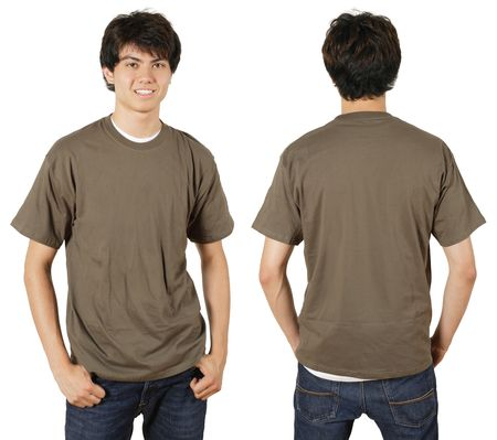 chestnut male: Young male with blank chestnut t-shirt, front and back. Ready for your design or logo. Stock Photo