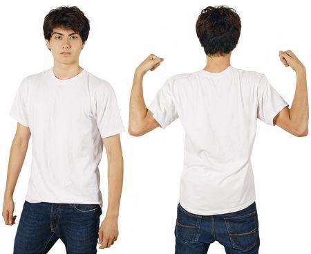 camisa: J�venes varones con camiseta blanca en blanco, frontal y realizar copia de seguridad. Listo para su dise�o o logotipo.  Foto de archivo