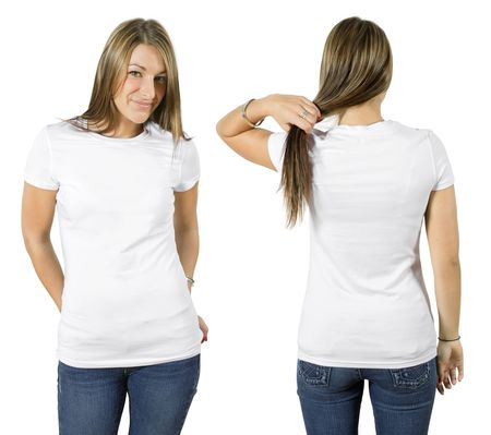 Young beautiful female with blank white shirt, front and back. Ready for your design or logo.