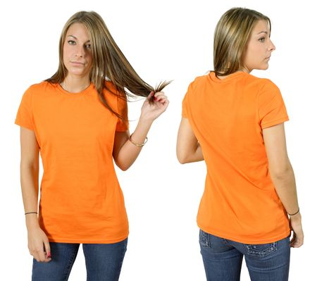 Young beautiful female with blank orange shirt, front and back. Ready for your design or logo. photo