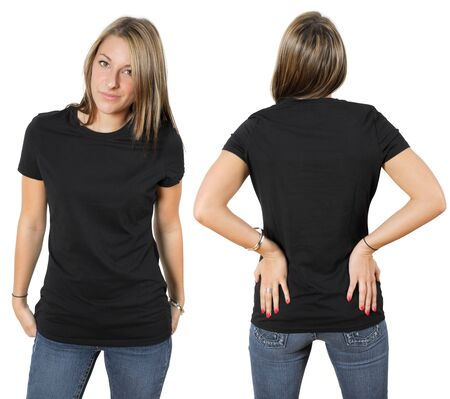 Young beautiful female wearing blank black shirt, front and back. Ready for your design or logo. photo