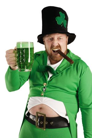 An image of a Leprechaun drinking green beer on St. Patricks Day. photo