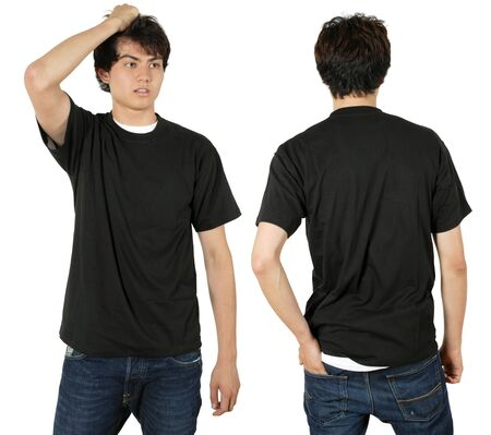 Young male with blank black t-shirt, front and back. Ready for your design or logo. Stock Photo