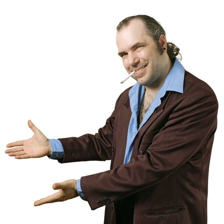 A sleazy car salesman, Con man, retro suit wearing man with happy smile showing you his deals. Stock Photo