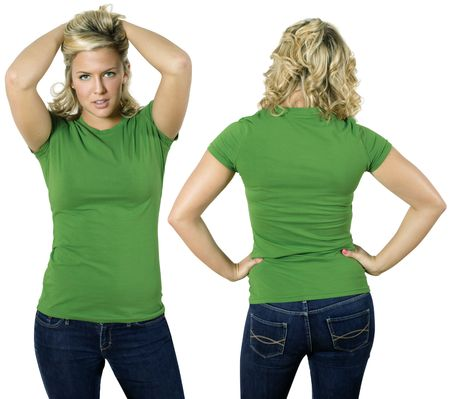 Young beautiful blond female with blank green shirt, front and back. Ready for your design or logo. Stock Photo - 7573573