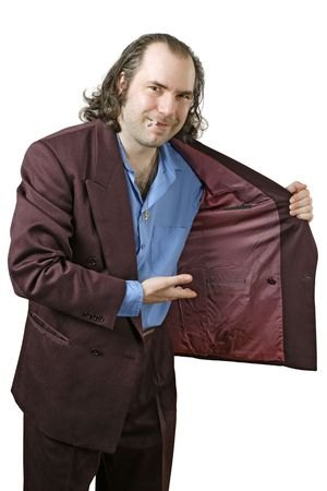 salesperson: a sleazy drug dealer showing you what he has in his jacket.