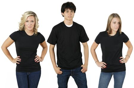 Young people wearing blank black shirts, ready for your design or logo. photo