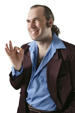 pimp: A sleazy car salesman, Con man, or pimp, wearing a retro suit and smiling with a large cheesy grin.