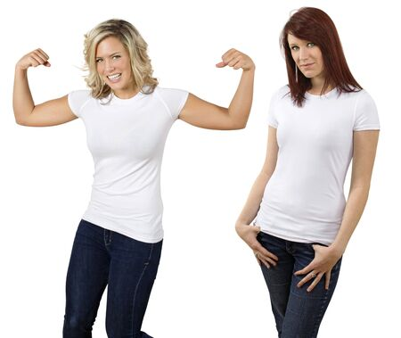 blank shirt: Young beautiful women posing with blank white shirts. Ready for your design or logo.