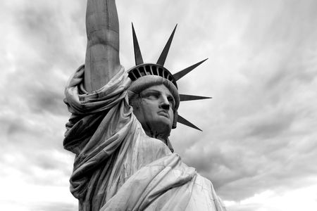 Photo of the Statue of Liberty in New York City.  Black and white version.