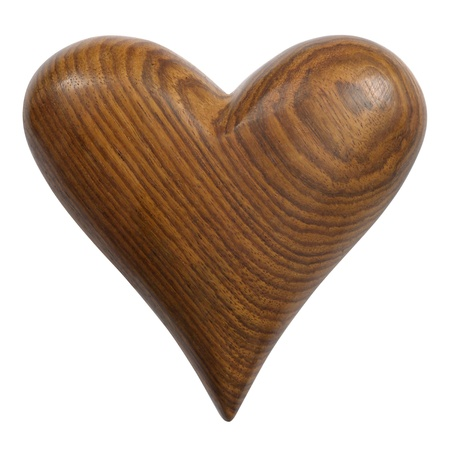 merged: Photo of a carved wooden heart, isolated on a white background. Two photos merged for large file. Clipping path included.