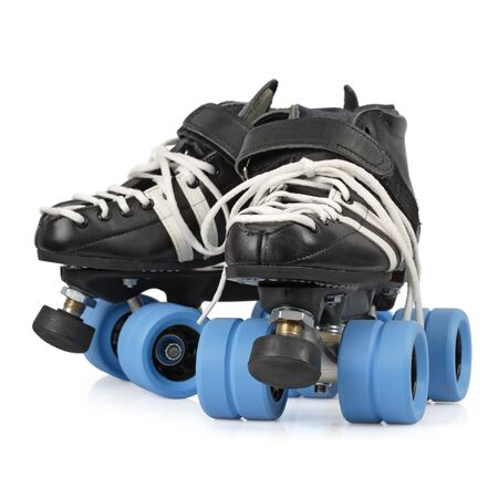 derby: Photo of Roller Derby quad skates. Focus is on the front skate.