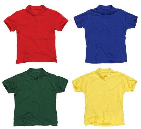 in shirt: Fotograf�a de cuatro camisetas polo en blanco, rojos, azules, verdes y amarillos.  Listo para su dise�o o logotipo. Foto de archivo