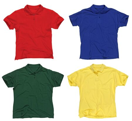tee shirt: Photograph of four blank polo shirts, red, blue, green and yellow.  Ready for your design or logo.