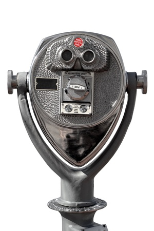 looking at viewer: Photo of coin-operated binoculars isolated on white.