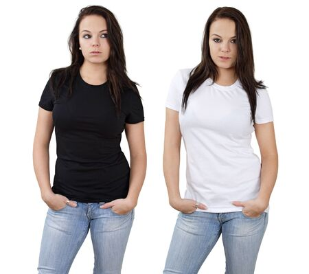 Young beautiful brunette female with blank white shirt and black shirt. Ready for your design or logo. photo
