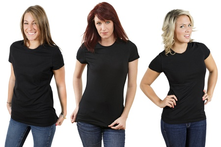 Young beautiful women with blank black shirts. Ready for your design or logo. photo