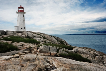 maritimes: The lighthouse at Peggys Cove in Nova Scotia Canada.