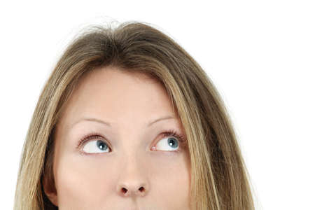 an attractive blond female looking up at something. Stock Photo - 8822001