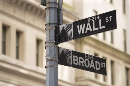 districts: Wall Street sign in New York city. Stock Photo