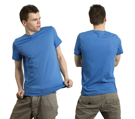 Young male with blank blue t-shirt, front and back. Ready for your design or logo. Stock Photo - 8988526