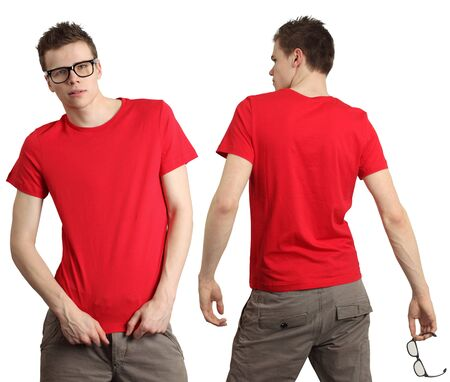 red tshirt: Young male with blank red t-shirt, front and back. Ready for your design or logo. Stock Photo