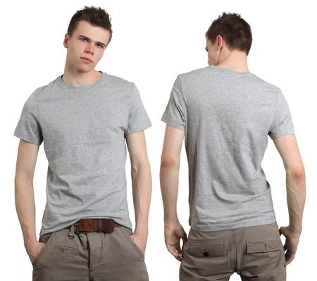 camisa: J�venes varones con Camiseta gris en blanco, frente y atr�s. Listo para su dise�o o logotipo.