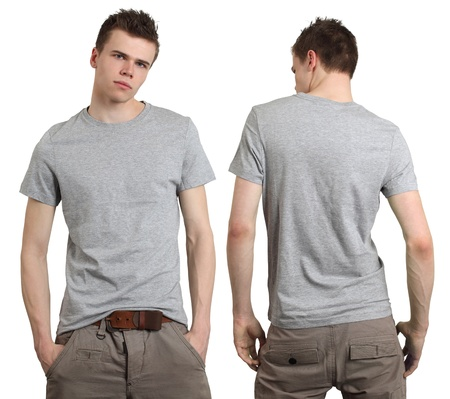 on gray: Young male with blank gray t-shirt, front and back. Ready for your design or logo.