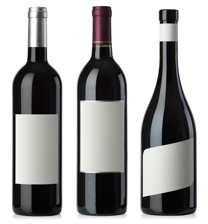 Three merged photographs of different shape red wine bottles with blank labels.  Separate clipping paths for bottles and labels included. Stok Fotoğraf