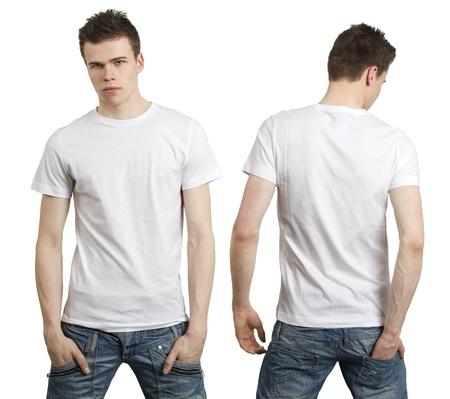 top model: Jonge mannelijke met lege witte t-shirt, voor- en achterkant. Klaar voor uw ontwerp of logo.