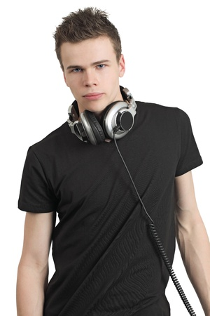 Photo of a male in his late teens, wearing headphones around his neck. Stock Photo - 9413510