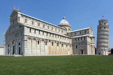 Photo of the Leaning Tower of Pisa in Pisa, Italy. No tourists are visible.