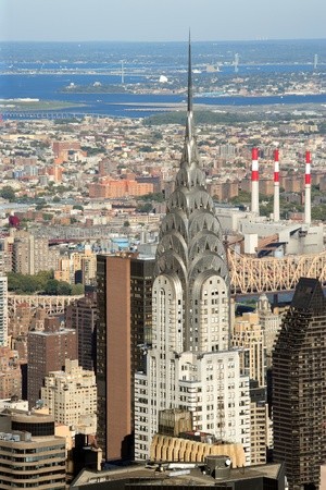 New York City, New York, USA - October 8, 2010: Chrysler Building in New York City on a bright sunny afternoon, taken from the Empire State Building.
