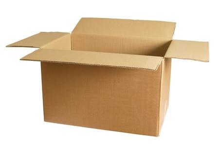 Foto van een lege kartonnen doos.