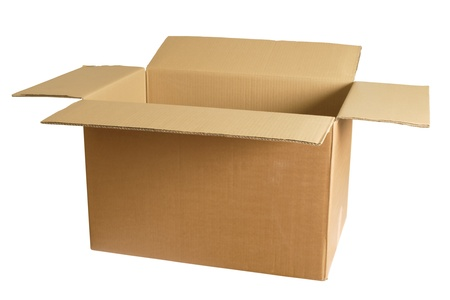 Photo of an empty cardboard box.   Stock Photo