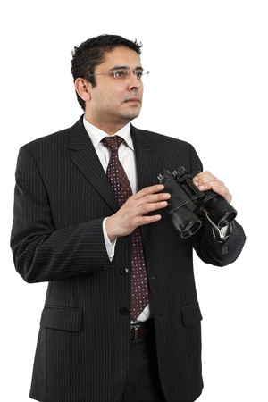 late thirties: An attractive Indian businessman in his late thirties, either searching for a job, looking for employees, or looking to the future. Stock Photo