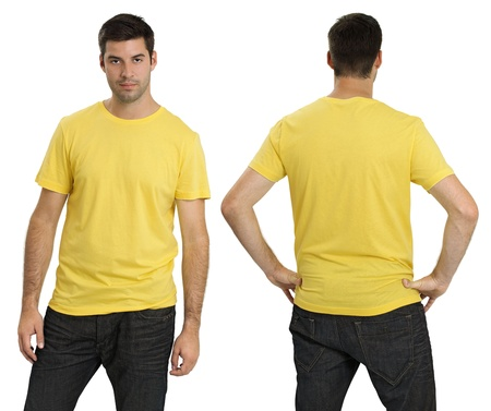 Young male with blank yellow t-shirt, front and back. Ready for your design or logo. photo