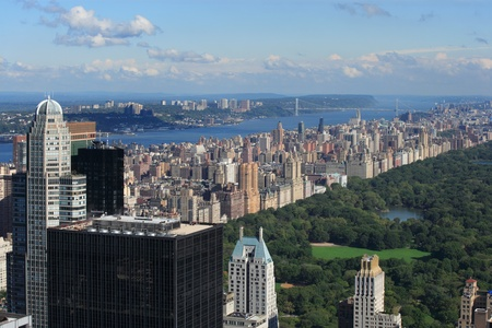 central park: Photo of Central Park and Upper West Side with the George Washington Bridge in the background.