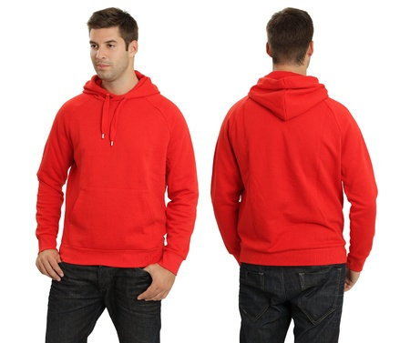 Young male with blank red hoodie, front and back. Ready for your design or logo. Stock Photo - 10516029