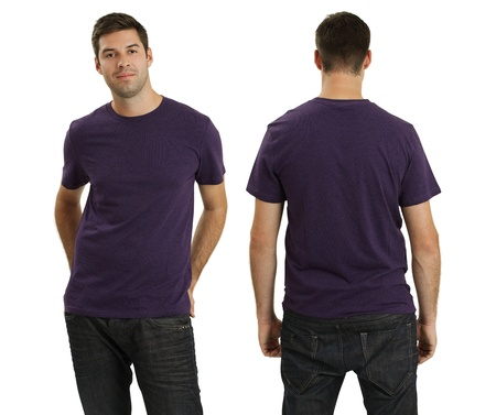 back to camera: Young male with blank purple t-shirt, front and back. Ready for your design or logo.