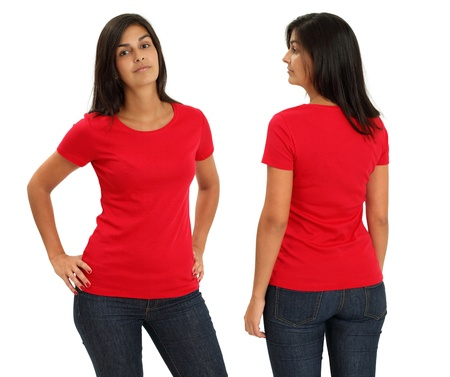 Young female with blank red t-shirt, front and back. Ready for your design or artwork.