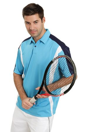 Photo of an attractive male tennis player holding his racket. Stock Photo - 10571943