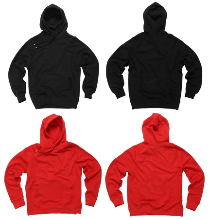 sudadera: Fotografía de dos sudaderas con capucha en blanco, rojo y negro, frontal y posterior. Trazados de recorte incluidos. Listo para su diseño o arte. Foto de archivo