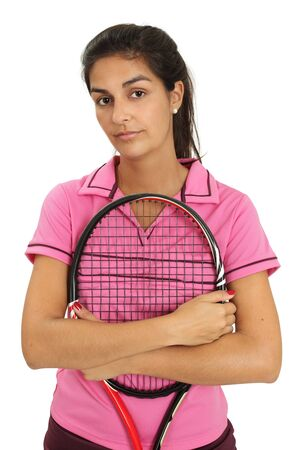 smirk: Photo of a attractive female tennis player.