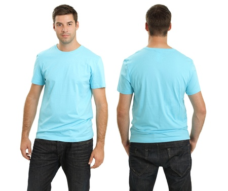male model: Young male with blank light blue t-shirt, front and back. Ready for your design or artwork. Stock Photo