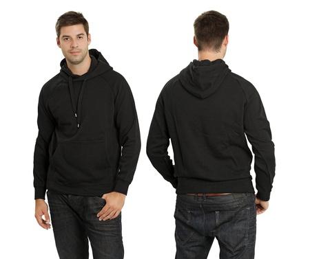 Jong mannetje met lege zwarte hoodie, voor-en achterkant. Klaar voor uw ontwerp of kunstwerk. Stockfoto