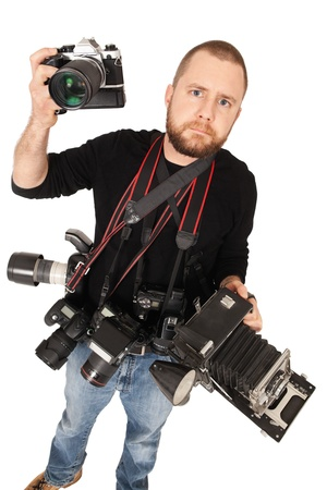 Portrait of photographer with multiple cameras of different styles. Stock Photo - 11312925